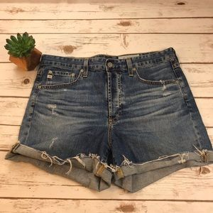AG Distressed Jean Shorts